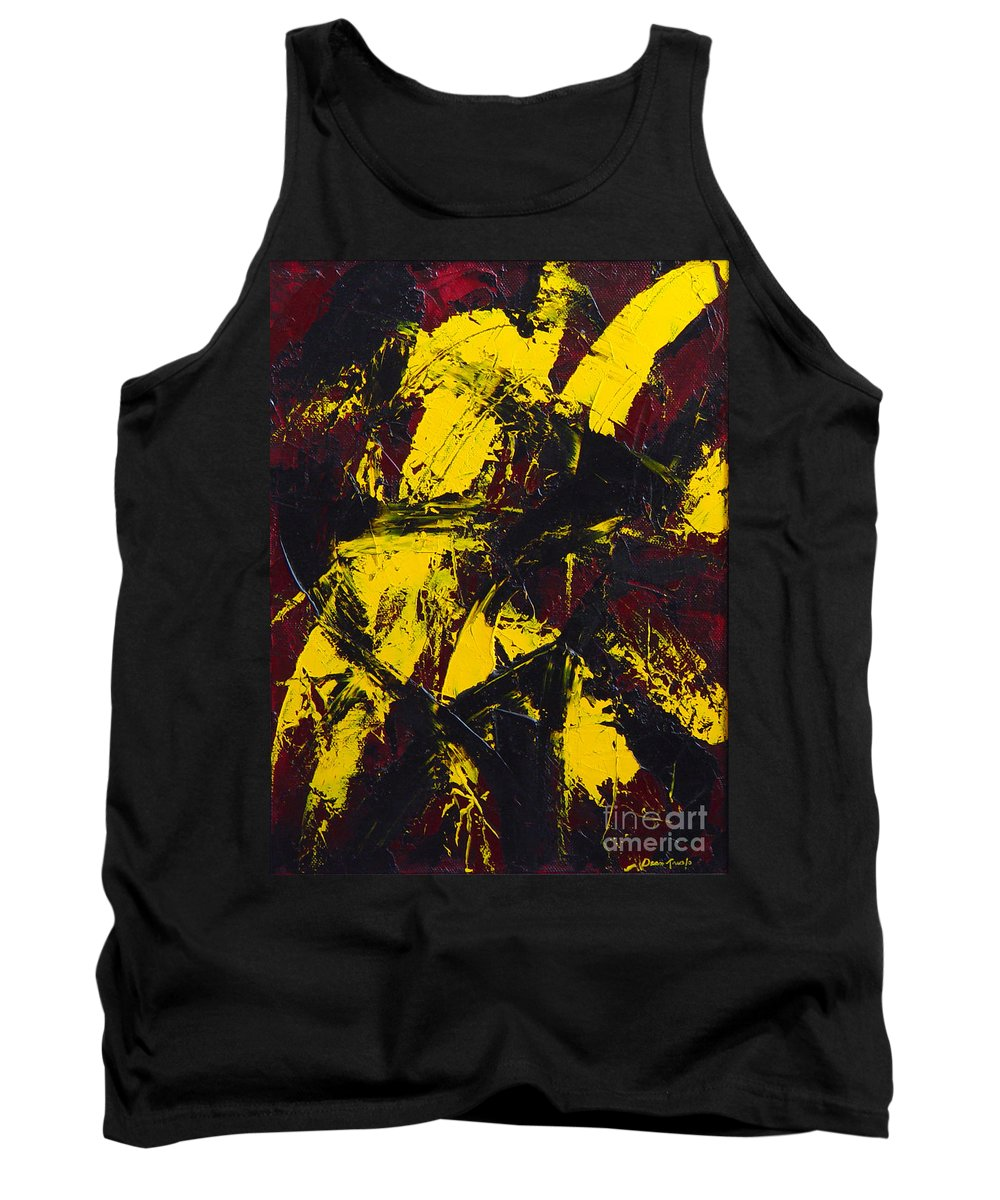 Abstract Tank Top featuring the painting Transitions with Yelllow and Black by Dean Triolo