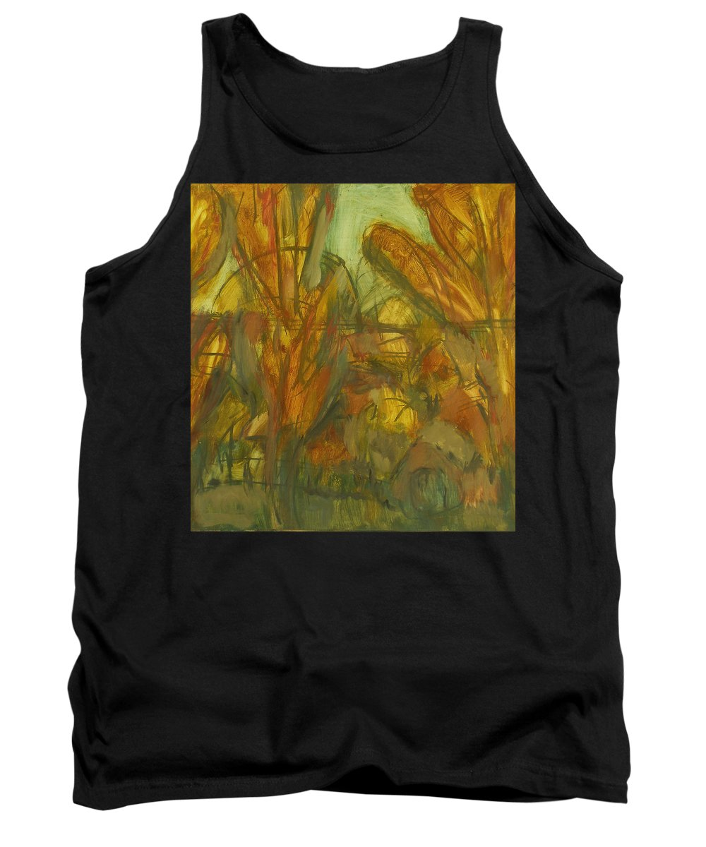 Sunlight Tank Top featuring the painting Trees by Robert Nizamov