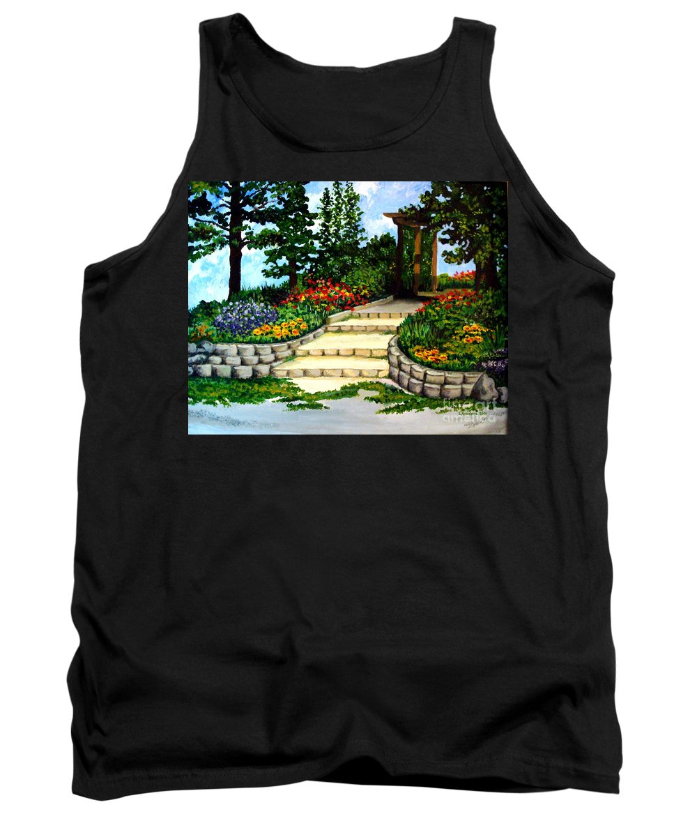 Landscape Tank Top featuring the painting Trellace Gardens by Elizabeth Robinette Tyndall