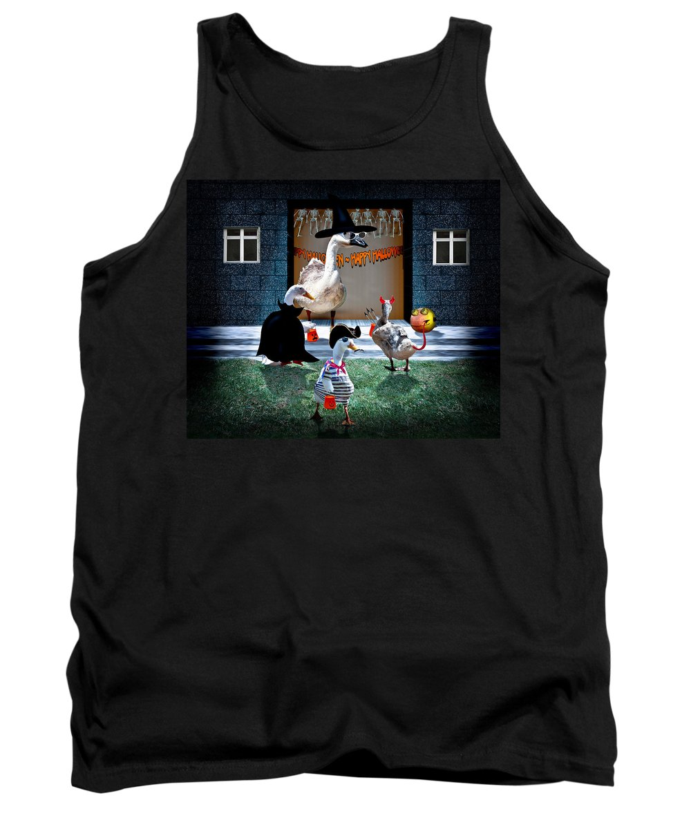 Tank Top featuring the mixed media Trick Or Treat Time For Little Ducks by Gravityx9 Designs