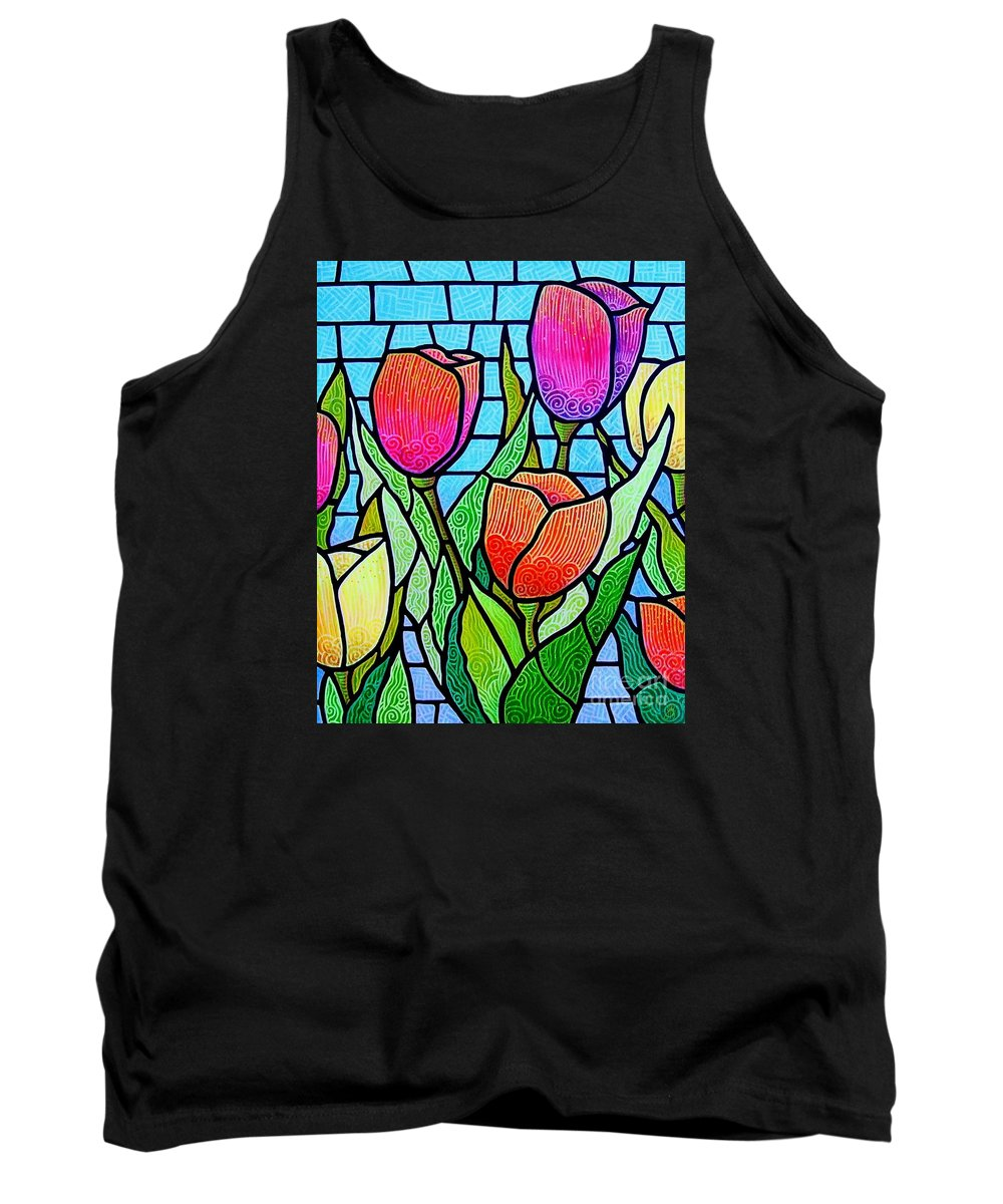Tulips Tank Top featuring the painting Tulip Garden by Jim Harris