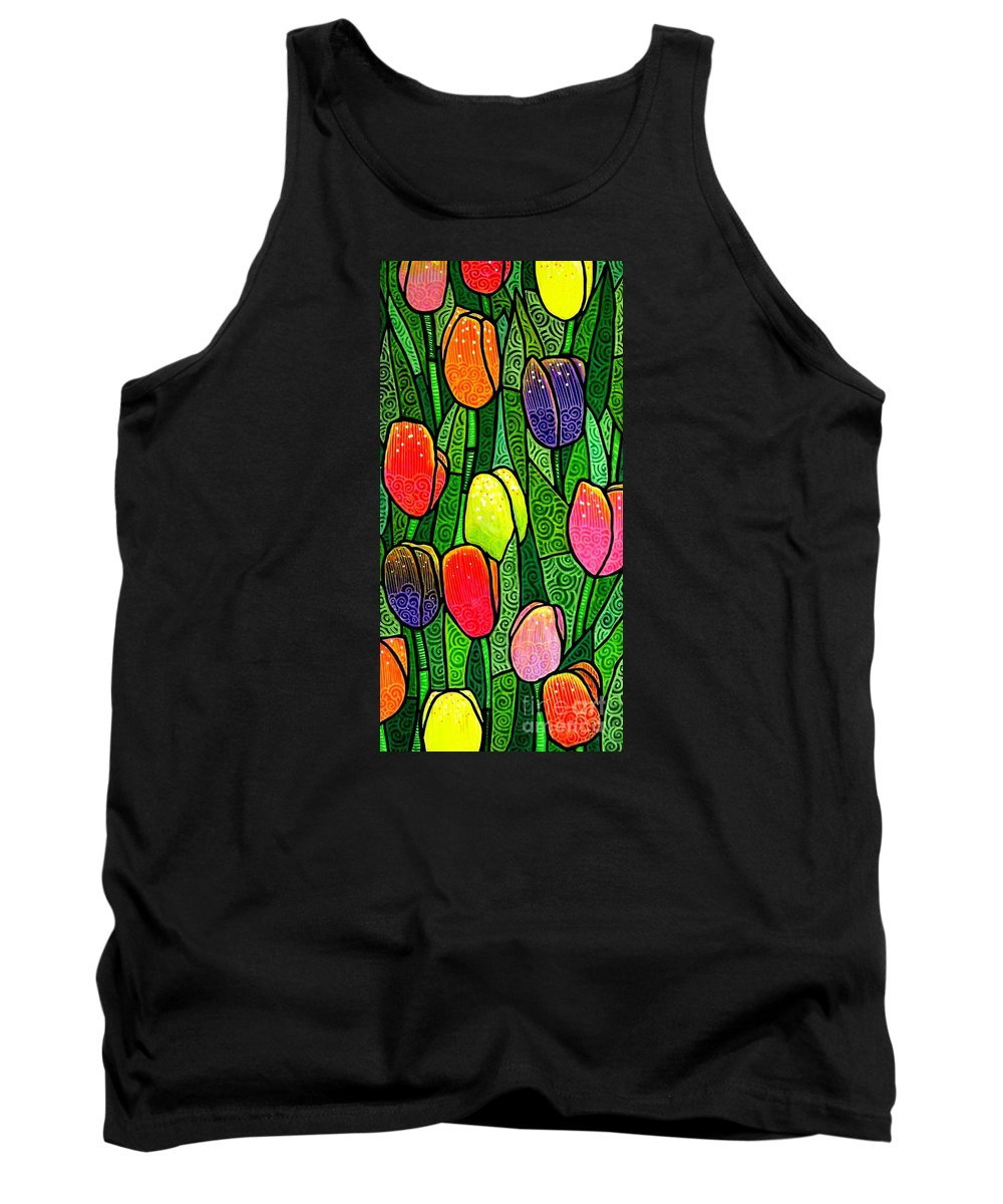 Tulips Tank Top featuring the painting Tulip Glory by Jim Harris