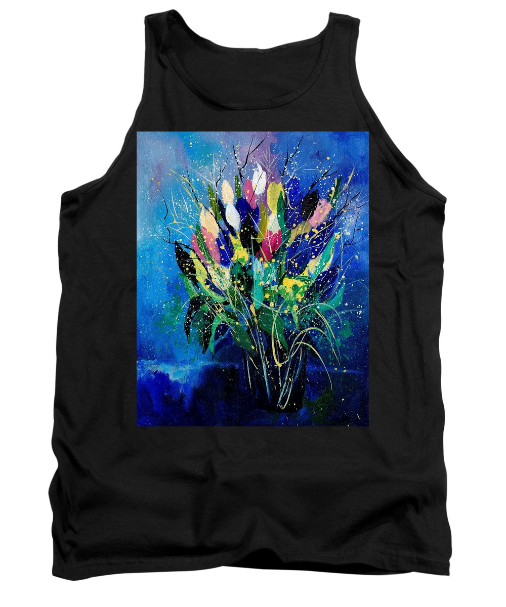 Flowers Tank Top featuring the painting Tulips 45 by Pol Ledent