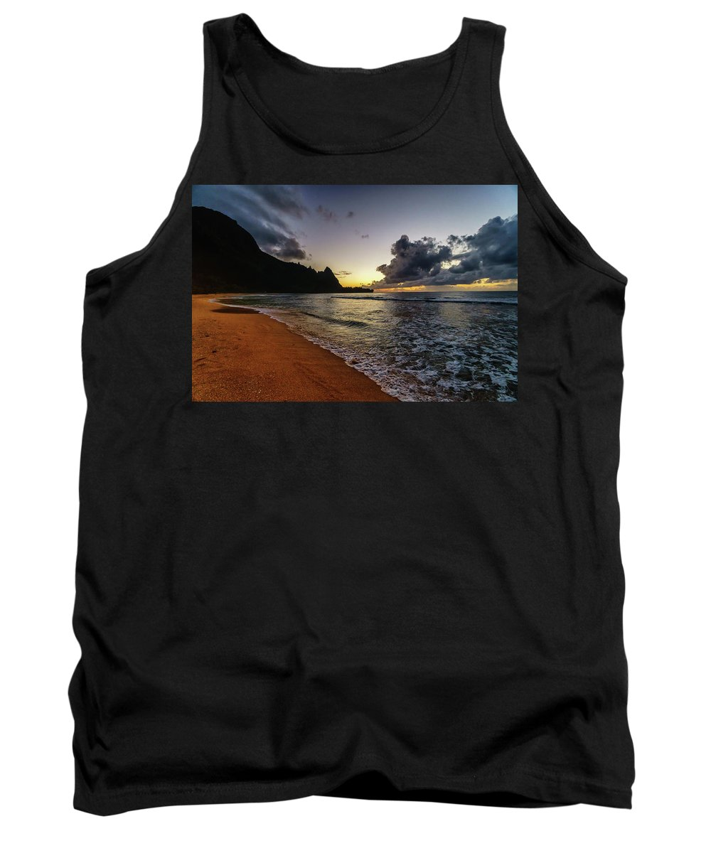 David Kulp Tank Top featuring the photograph Tunnels Beach Sunset by David Kulp