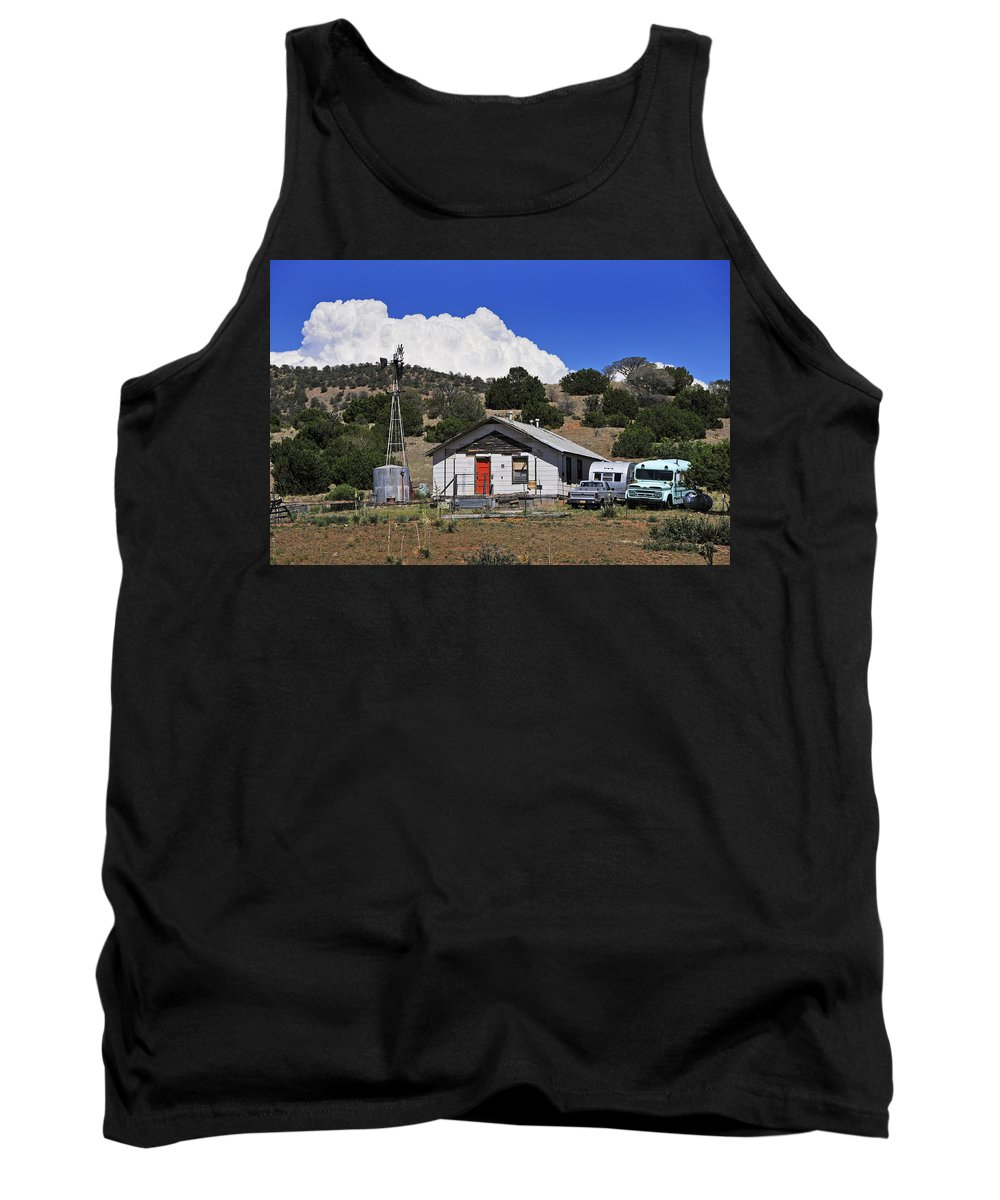 Skip Hunt Tank Top featuring the photograph Turquoise Bus by Skip Hunt