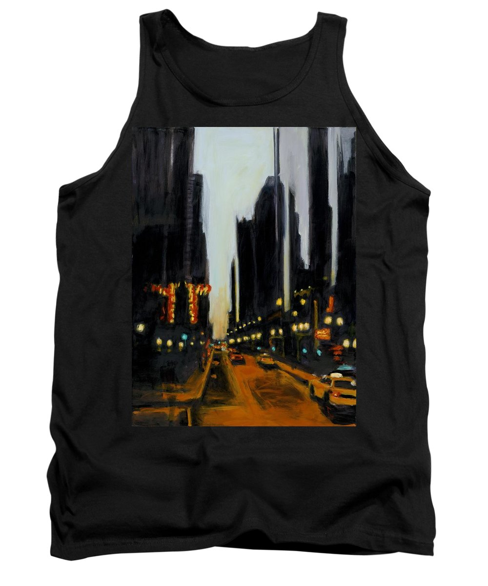 Rob Reeves Tank Top featuring the painting Twilight In Chicago by Robert Reeves