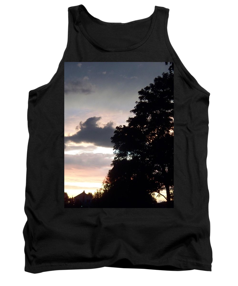 Twilight Tank Top featuring the painting Twilight Landscape by Eric Schiabor
