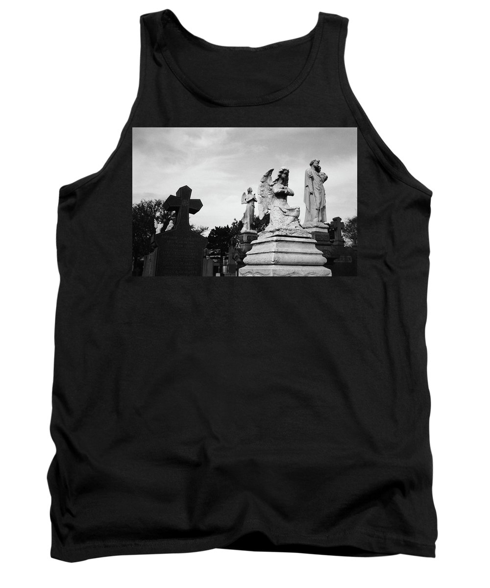 Calvary Cemetery Tank Top featuring the photograph Two Angels Joseph, Jesus And A Bold Cross In A Cemetery by David Wolanski