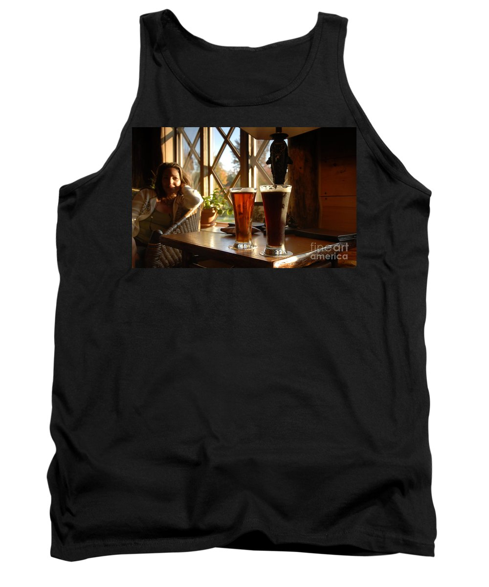 Beer Tank Top featuring the photograph Two Beers At The Lodge by David Lee Thompson