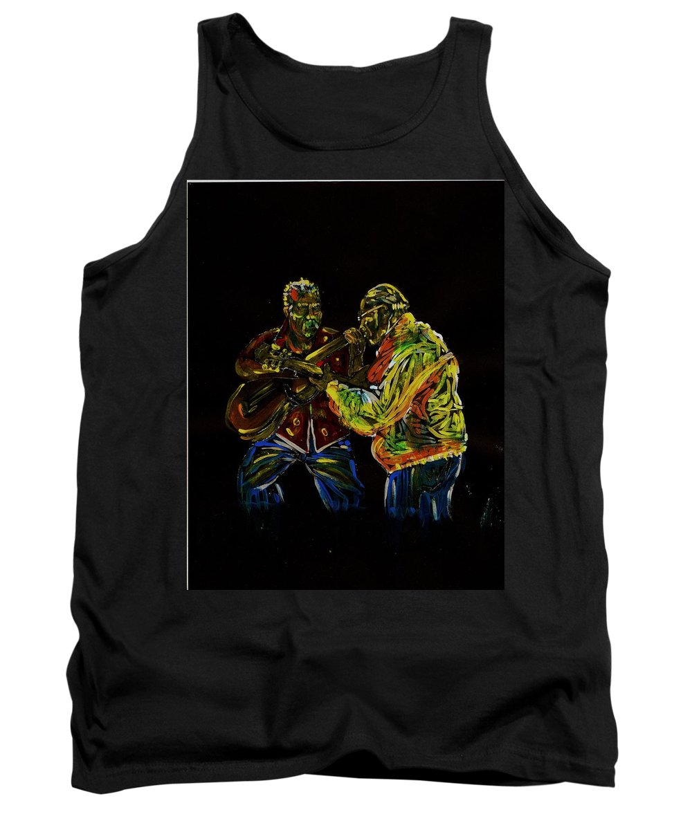 Classical Guitar Tank Top featuring the painting Two Classical Guitar Players by Americo Salazar