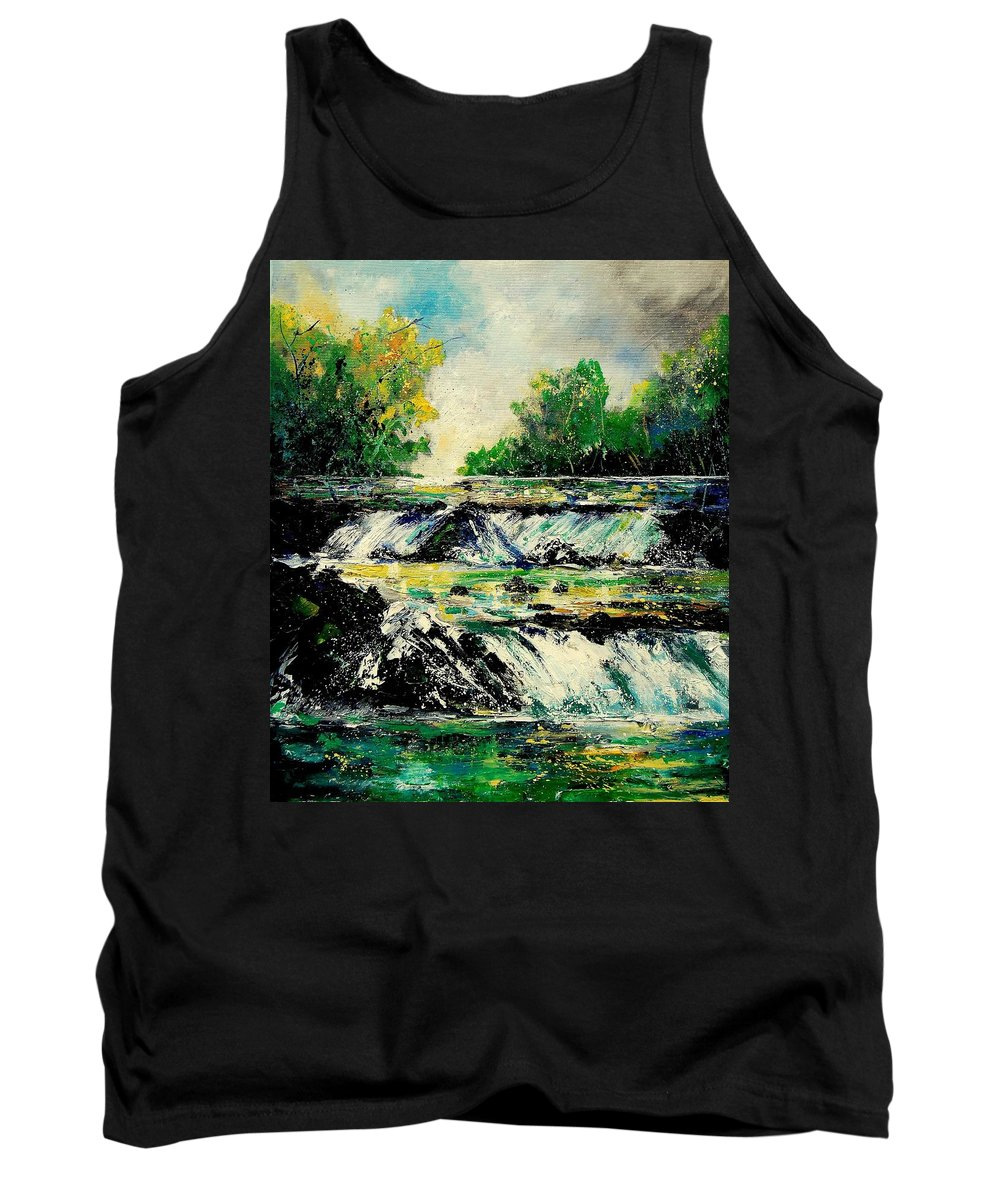 River Tank Top featuring the painting Two Falls by Pol Ledent