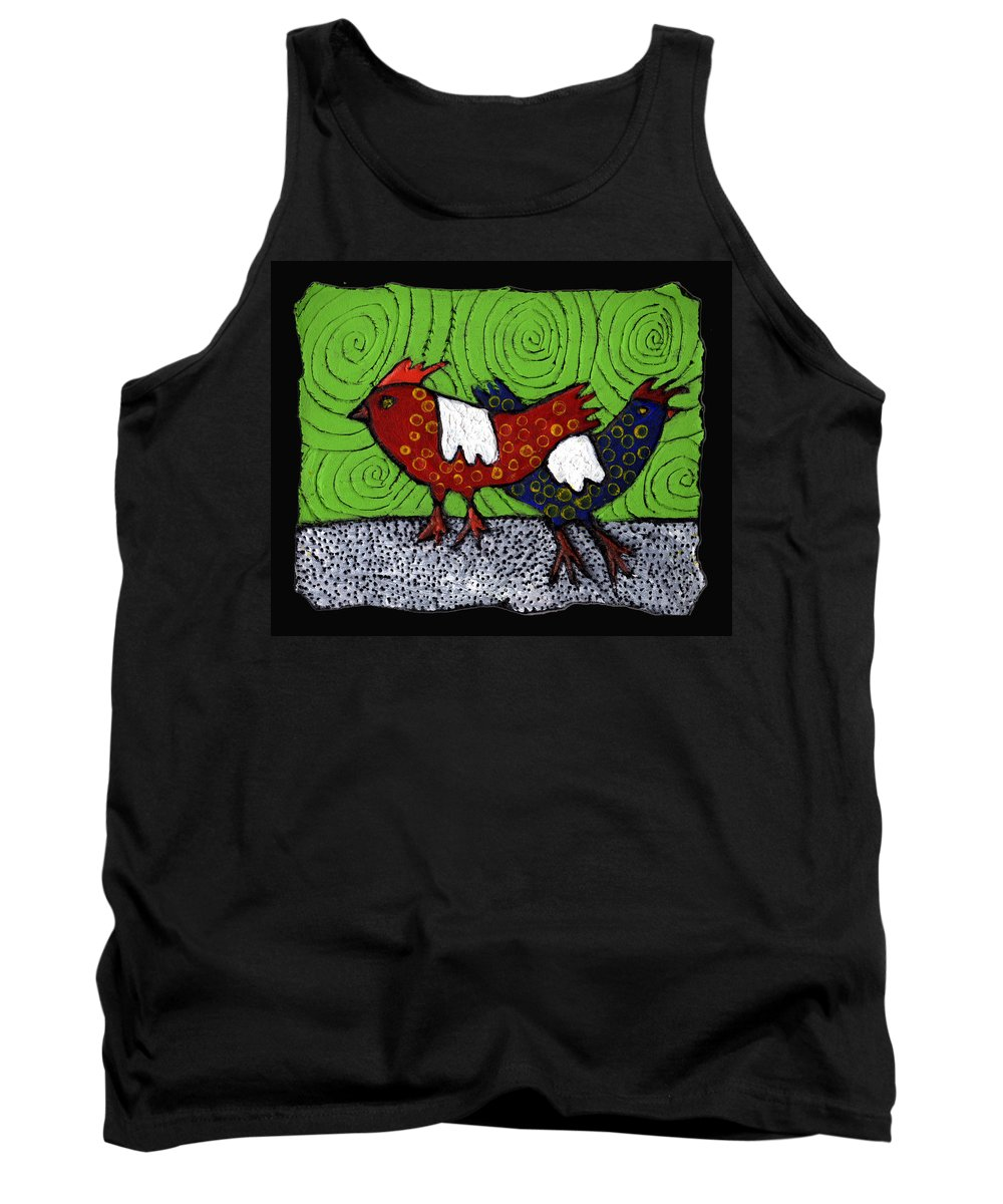Chickens Tank Top featuring the painting Two Roosters by Wayne Potrafka