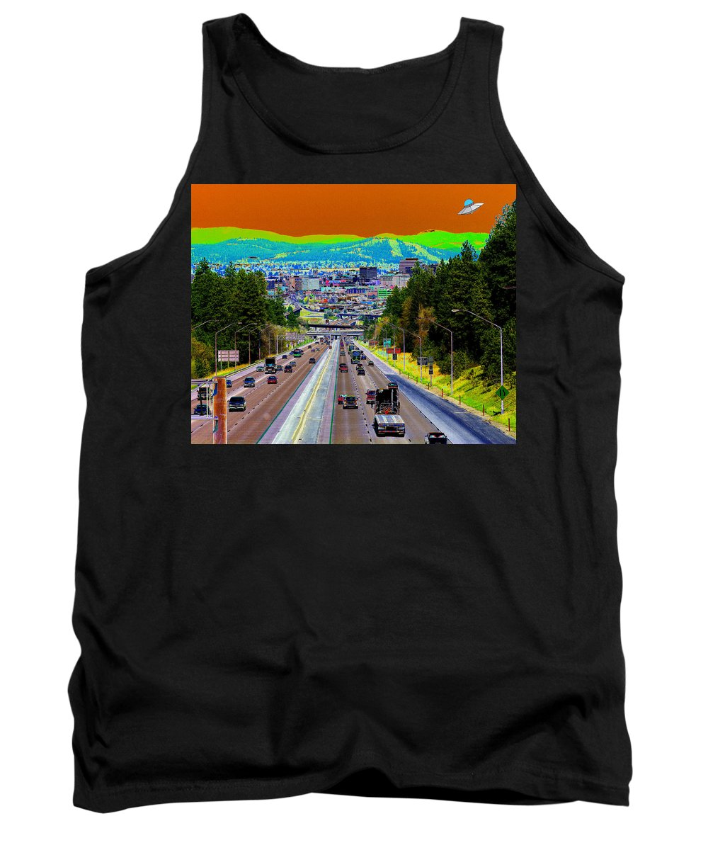 Ufo Tank Top featuring the photograph Ufo Over Spokane by Ben Upham III