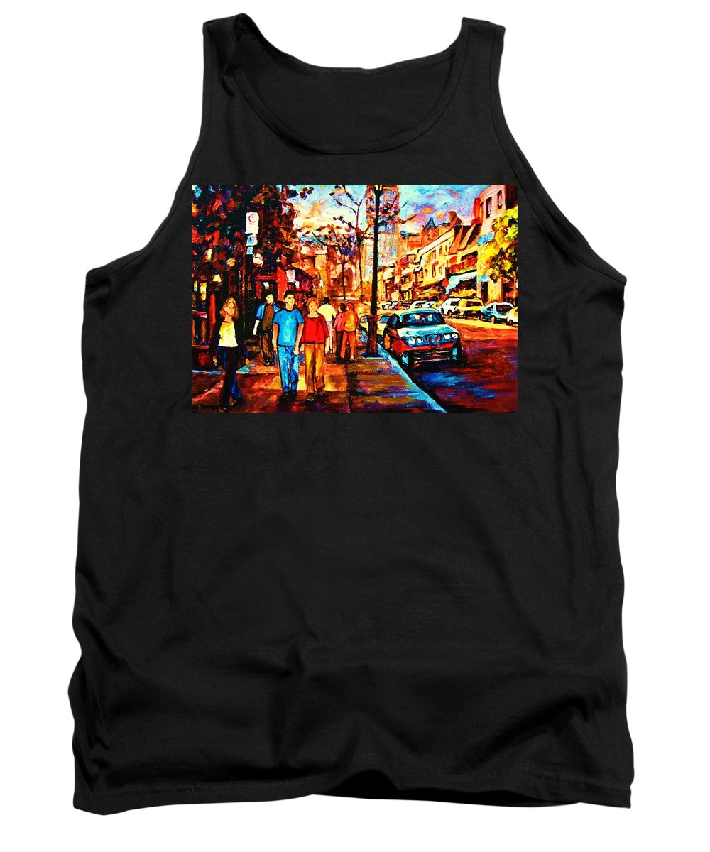Montrealstreetscene Tank Top featuring the painting Under A Crescent Moon by Carole Spandau