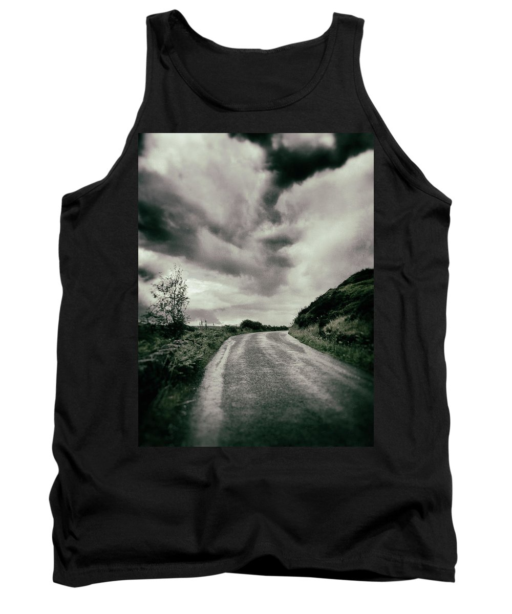 Road Tank Top featuring the photograph Up That Hill - Dark by Philip Openshaw