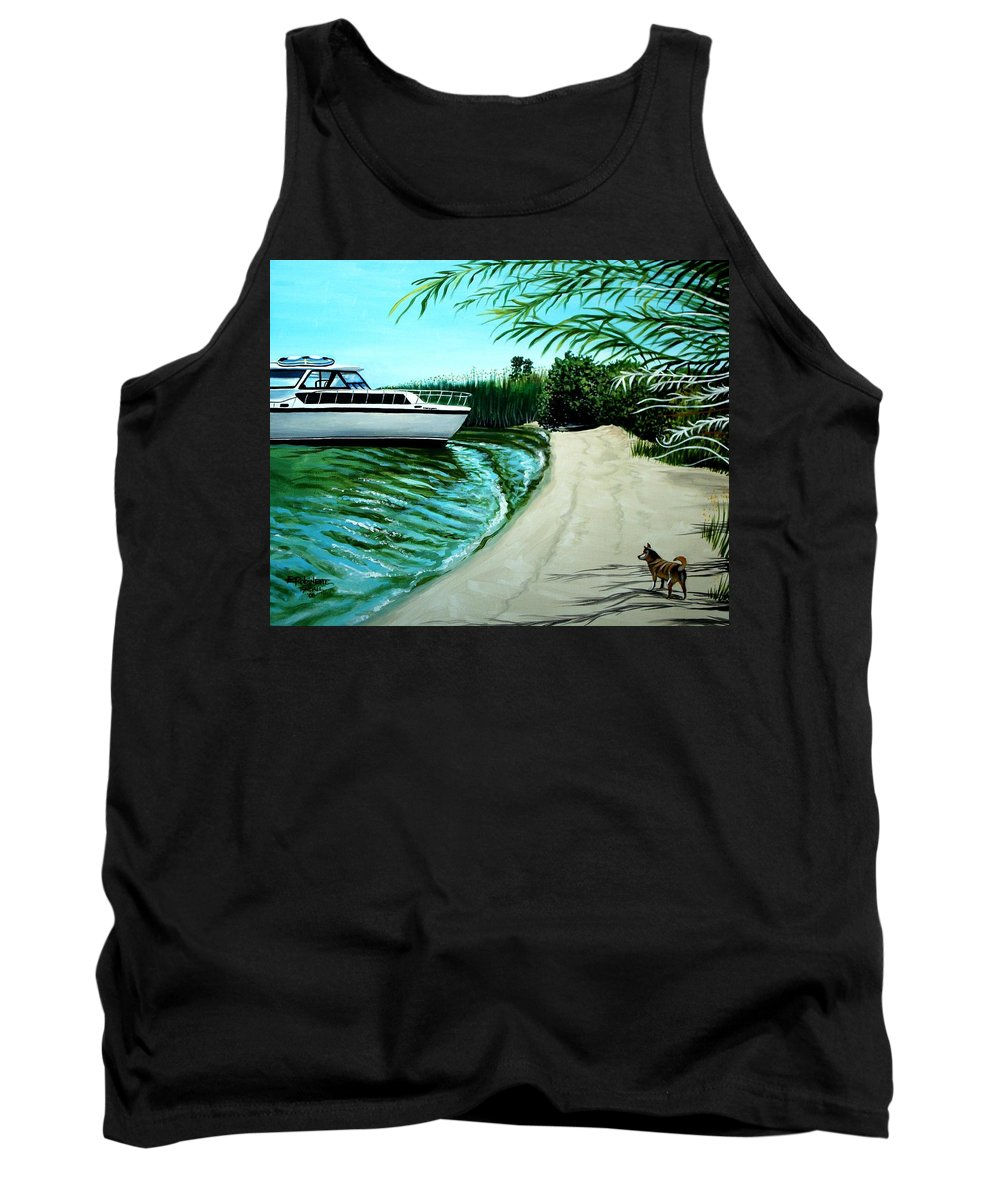 Beach Tank Top featuring the painting Upon Ashore by Elizabeth Robinette Tyndall