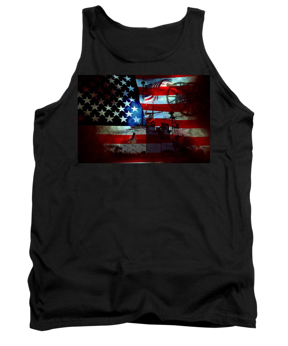 War Tank Top featuring the photograph Usa Patriot Flag And War by Phill Petrovic
