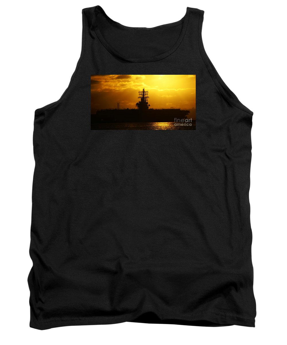 Uss Navy Tank Top featuring the photograph Uss Ronald Reagan by Linda Shafer