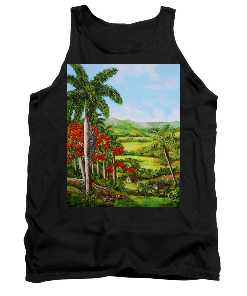 Palms Tank Top featuring the painting Yumuri Valley by Dominica Alcantara
