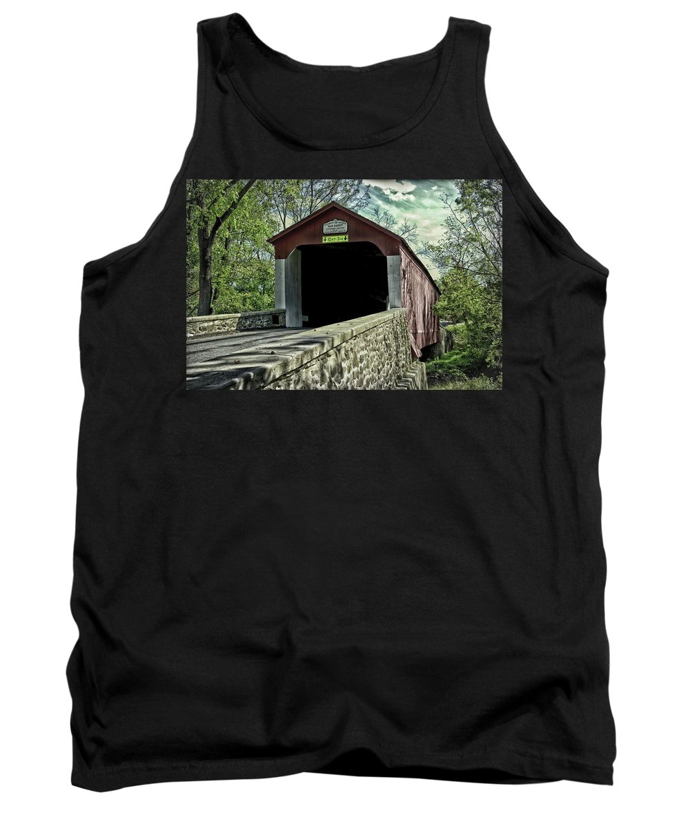 Covered Bridge Tank Top featuring the photograph Van Sandt Covered Bridge by James DeFazio