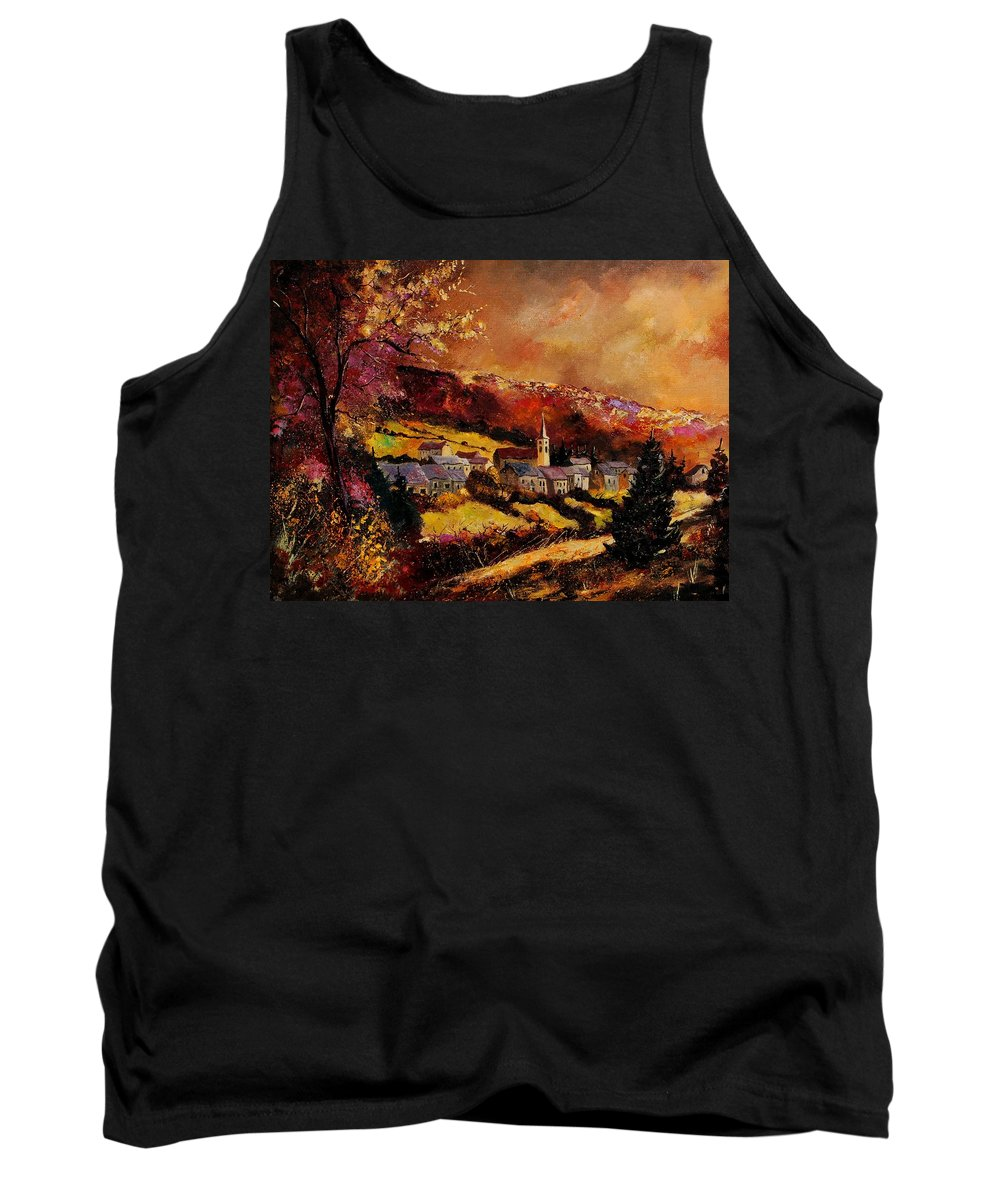 River Tank Top featuring the painting Vencimont village ardennes by Pol Ledent