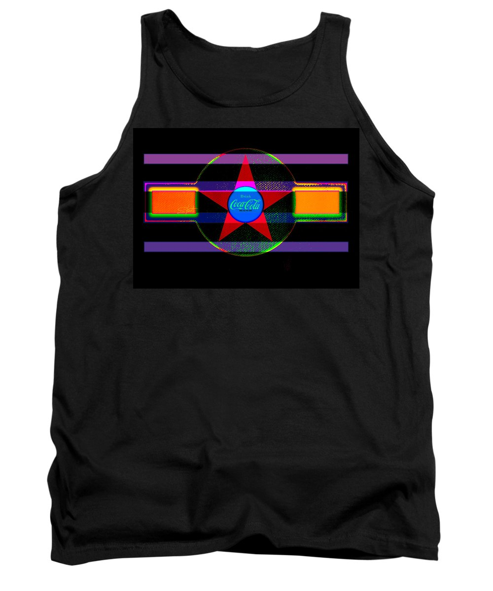 Label Tank Top featuring the painting Venetion Neon by Charles Stuart