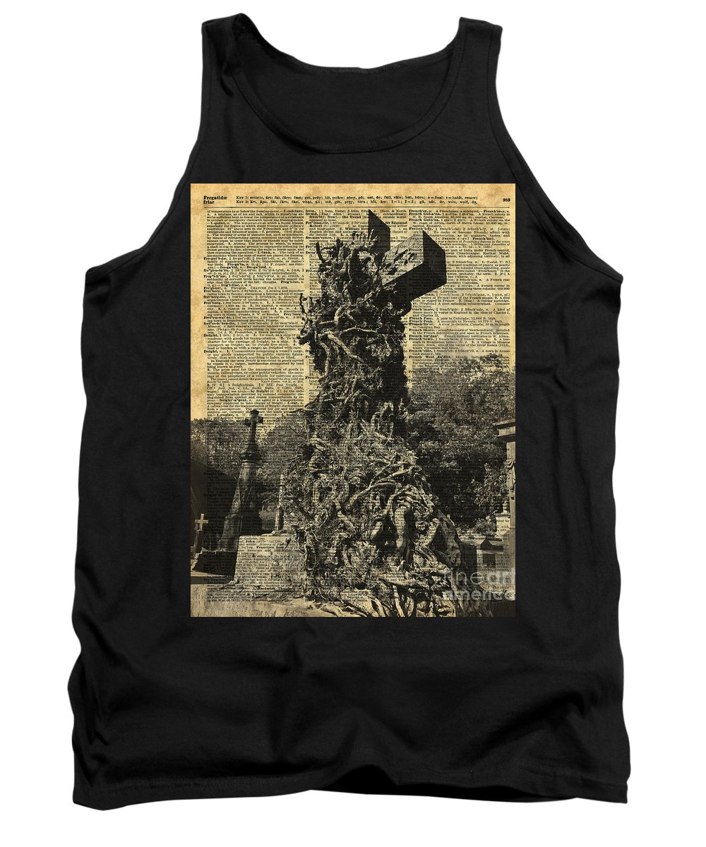 Graveyard Tank Top featuring the digital art Victorian Gothic Graves Over Antique Dictionary Book Page by Anna W