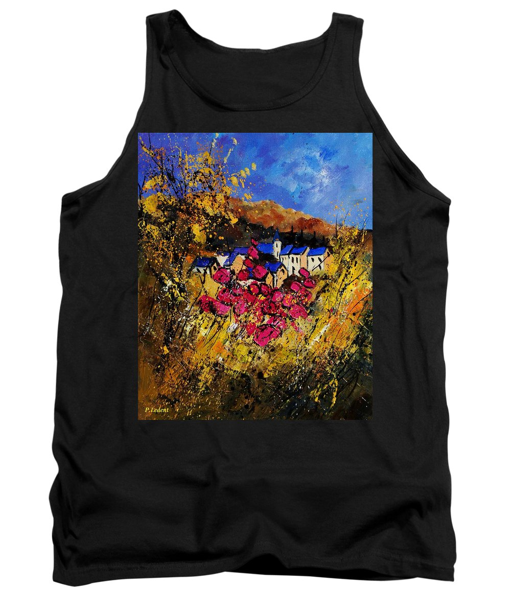 Flowers Tank Top featuring the painting Village 450808 by Pol Ledent