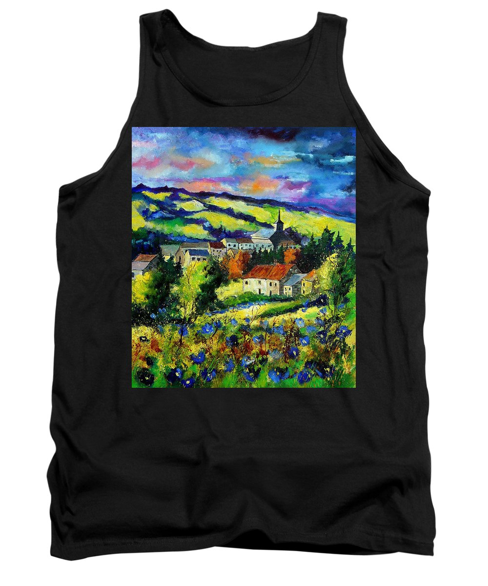 Landscape Tank Top featuring the painting Village and blue poppies by Pol Ledent