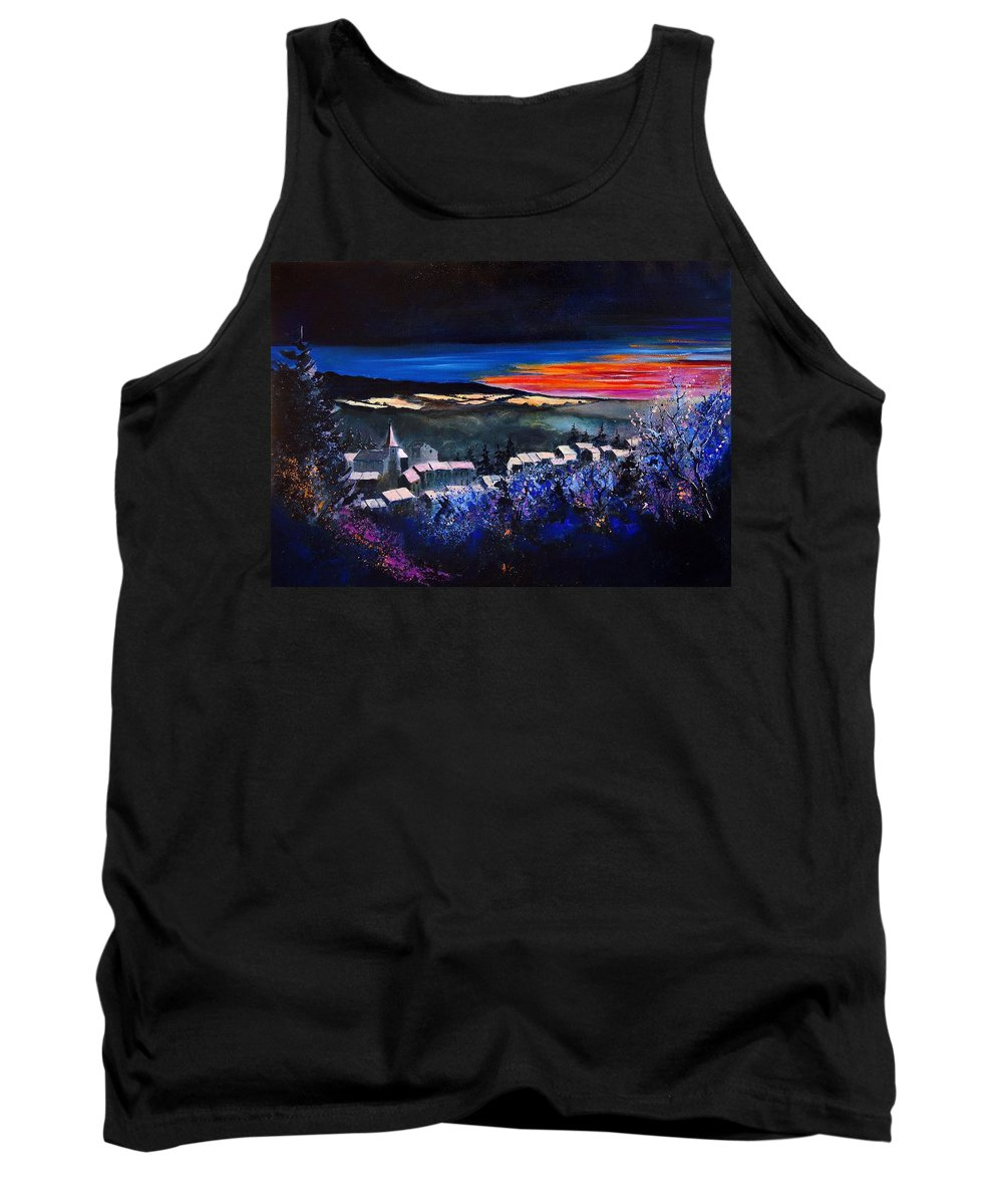 Landscape Tank Top featuring the painting Village In A Winter Morninglight by Pol Ledent