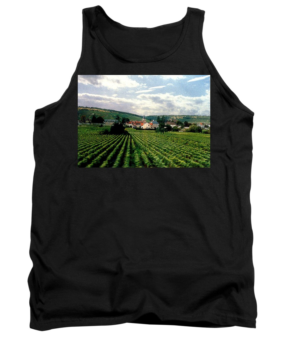Vineyards Tank Top featuring the photograph Village In The Vineyards Of France by Nancy Mueller