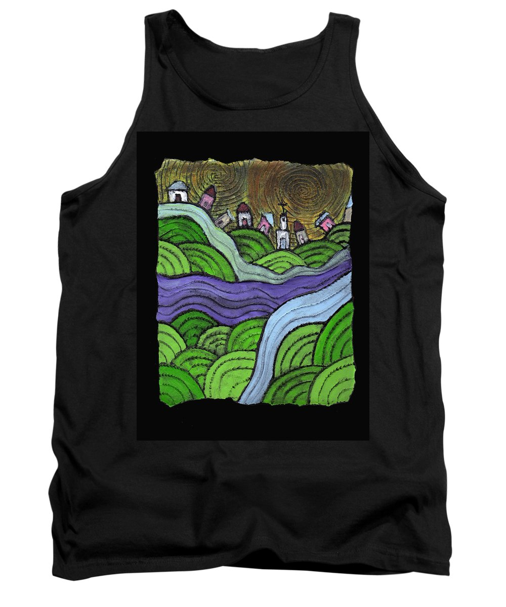 Village Tank Top featuring the painting Village On The Hill by Wayne Potrafka