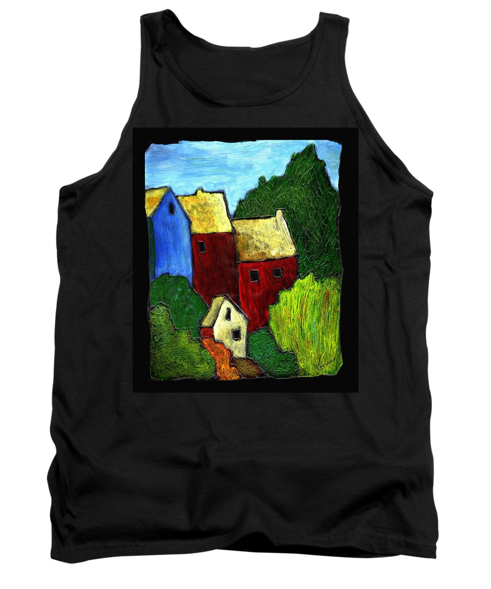 Village Tank Top featuring the painting Village Scene by Wayne Potrafka