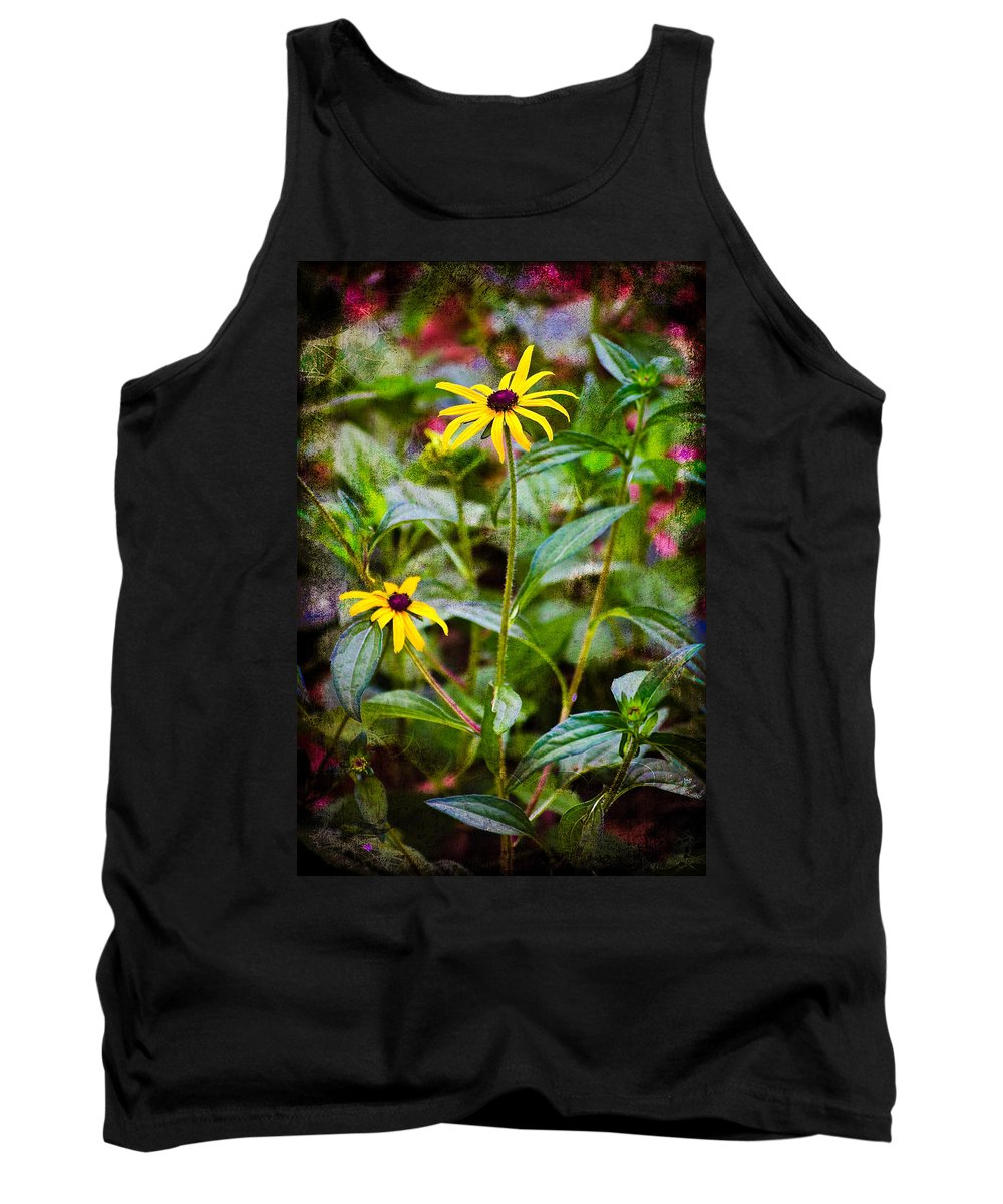Flower Tank Top featuring the photograph Vintage Black-eyed Susans by Rich Leighton