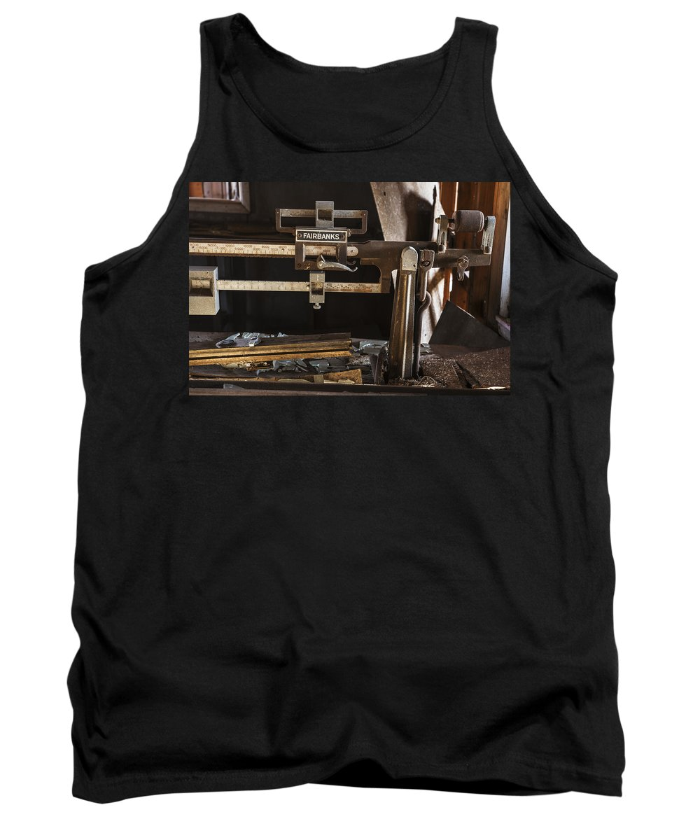 Vintage Tank Top featuring the photograph Vintage Grain Elevator Scale by Donald Erickson