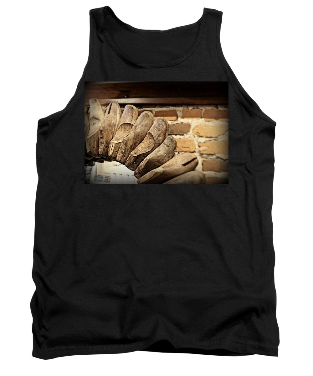 Vintage Tank Top featuring the photograph Vintage Shoe Forms by Mary Pille