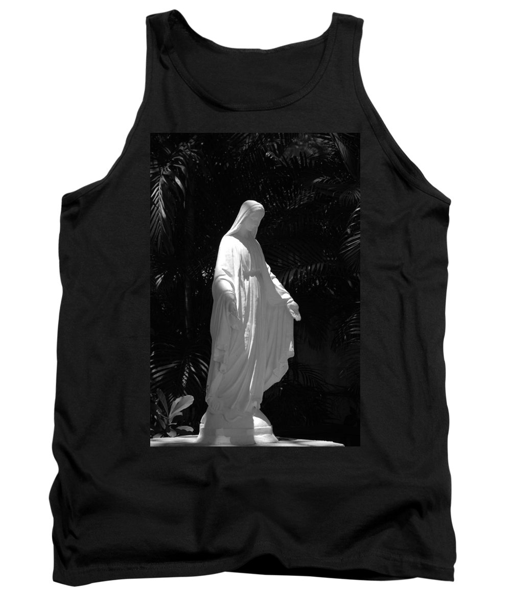 Black And White Tank Top featuring the photograph Virgin Mary In Black And White by Rob Hans