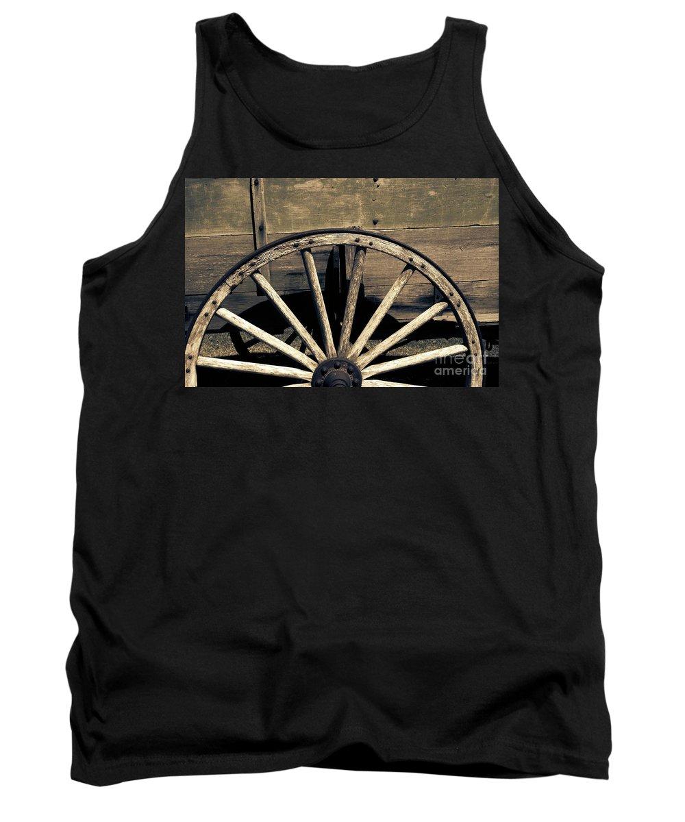 Wagon Wheel Tank Top featuring the photograph Wagon Wheel - Old West Trail N832 Sepia by Ella Kaye Dickey
