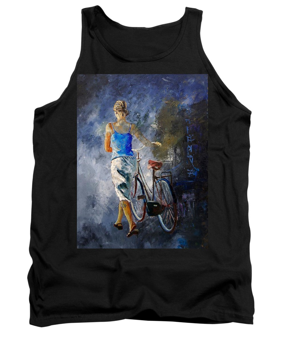 Girl Tank Top featuring the painting Waking Aside Her Bike 68 by Pol Ledent