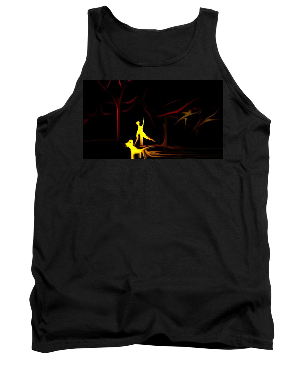 Abstract Digital Painting Tank Top featuring the digital art Walk In The Dog Park by David Lane