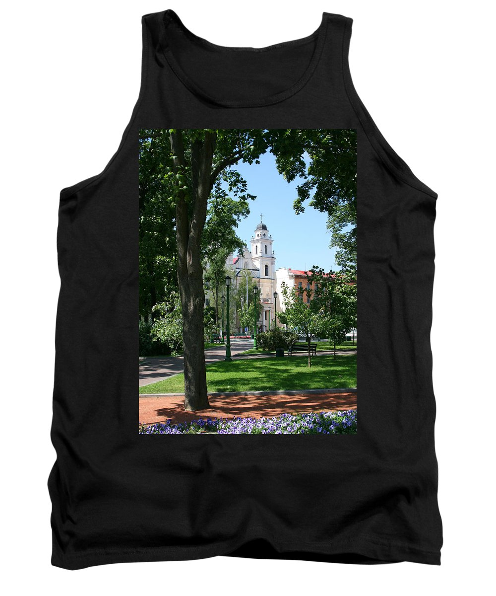 Park City Tree Trees Flowers Church Building Summer Blue Sky Green Walk Bench Tank Top featuring the photograph Walk In The Park by Andrei Shliakhau