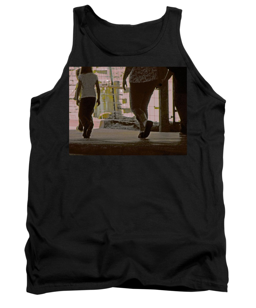 Abstract Tank Top featuring the photograph Walking In Construction Zone by Lenore Senior