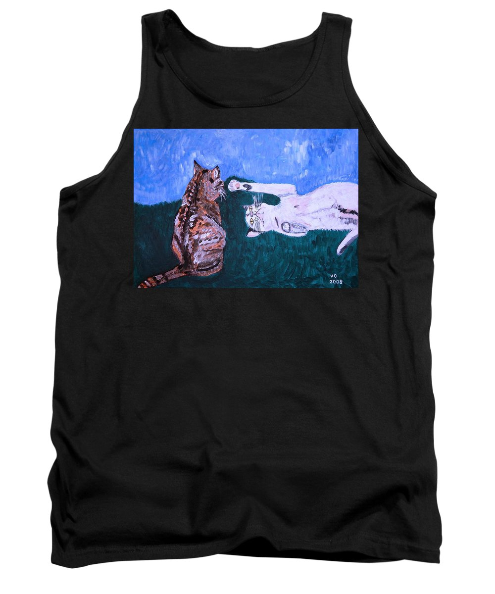Cat Tank Top featuring the painting Want To Play by Valerie Ornstein