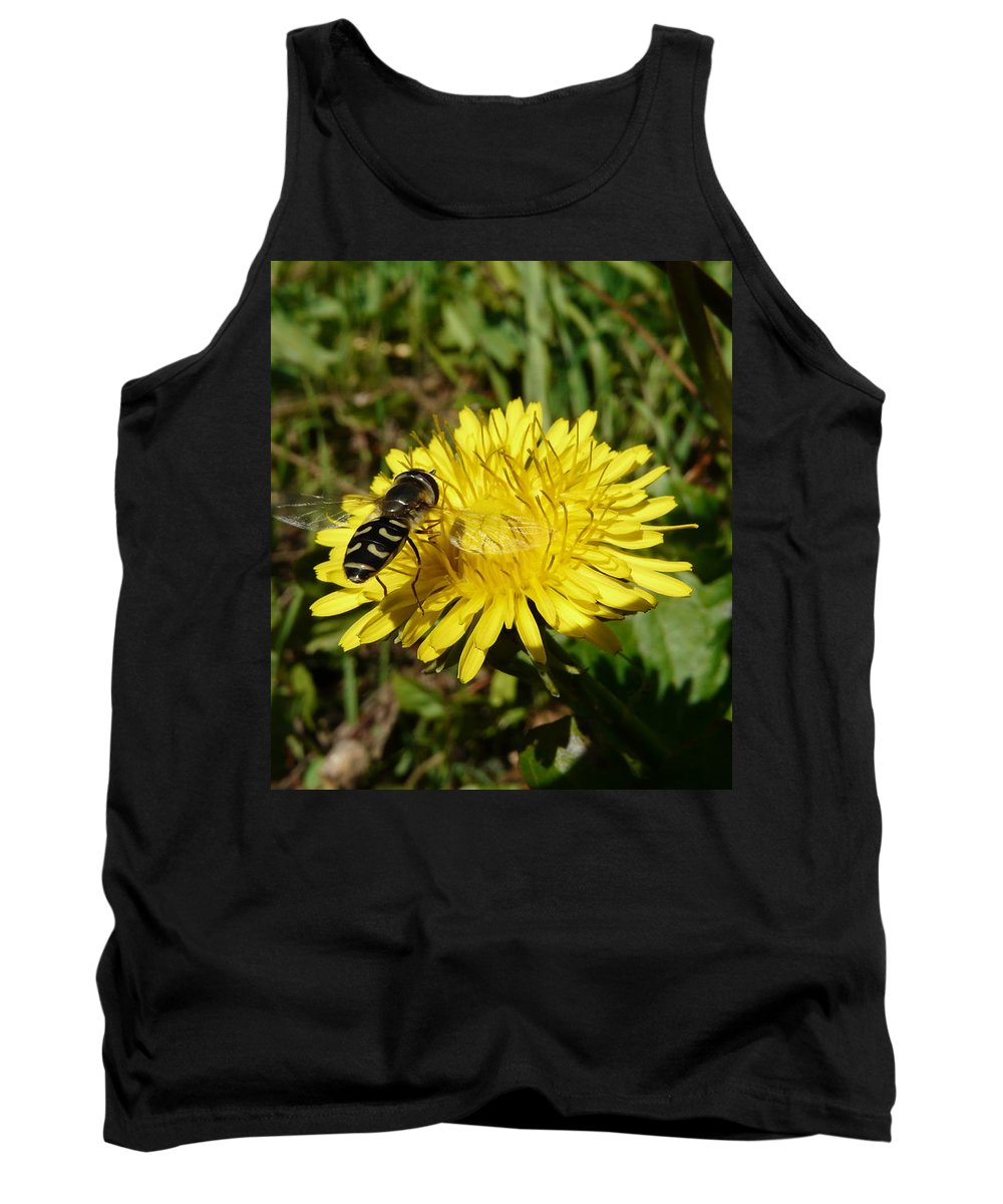 Wasp Tank Top featuring the photograph Wasp Visiting Dandelion by Valerie Ornstein