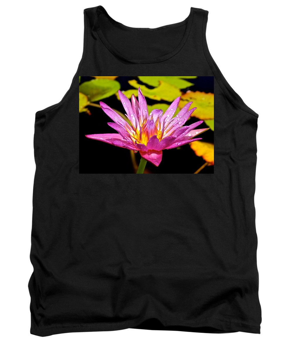 Lotus Tank Top featuring the photograph Water Lily After Rain 2 by Joe Wyman