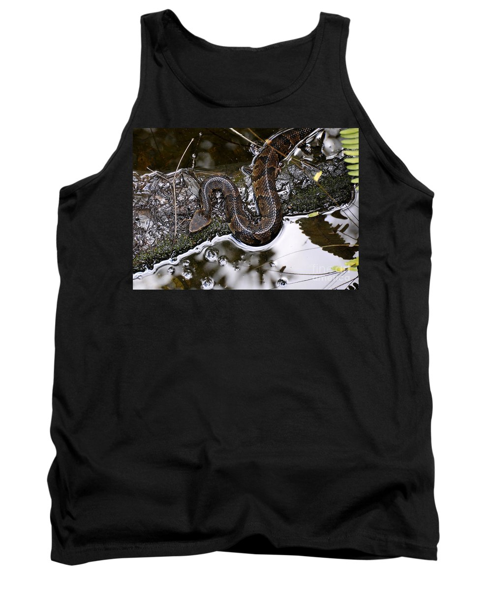 Water Moccasin Tank Top featuring the photograph Water Moccasin by David Lee Thompson