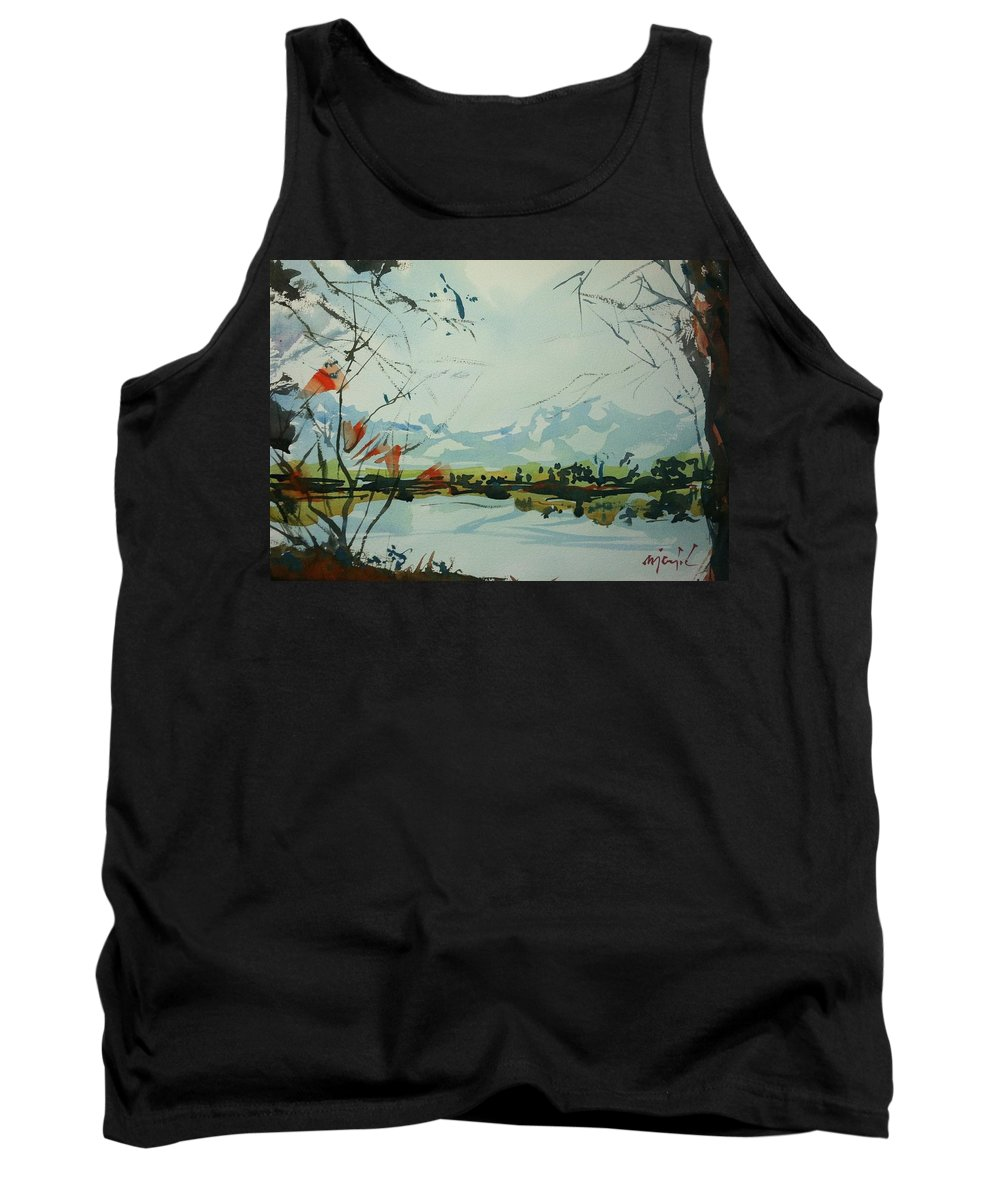 Colorado Landscape Tank Top featuring the painting Watercolor5498 by Ugljesa Janjic