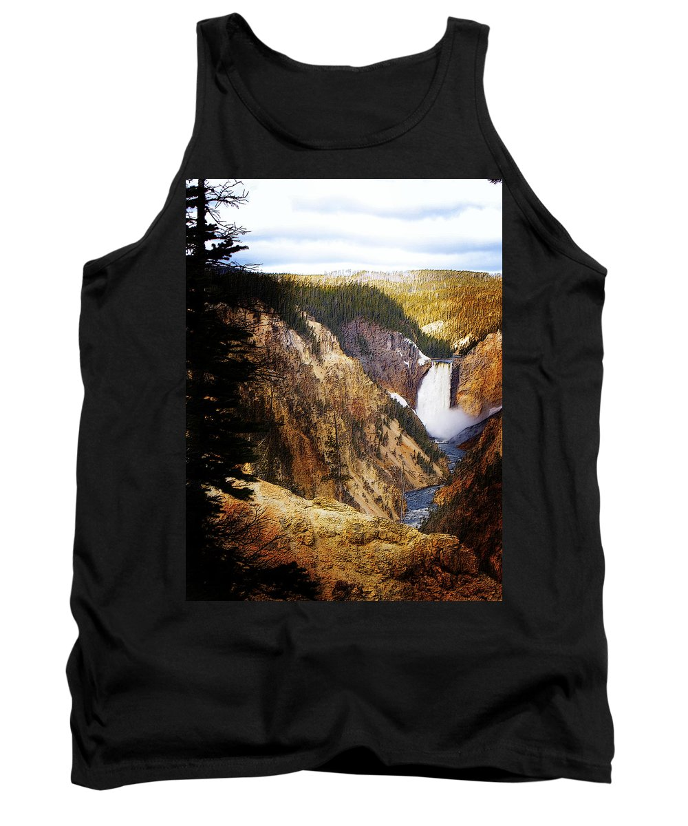 Rocks Tank Top featuring the photograph Waterfall Yellowstone 2 by Jo-Anne Gazo-McKim