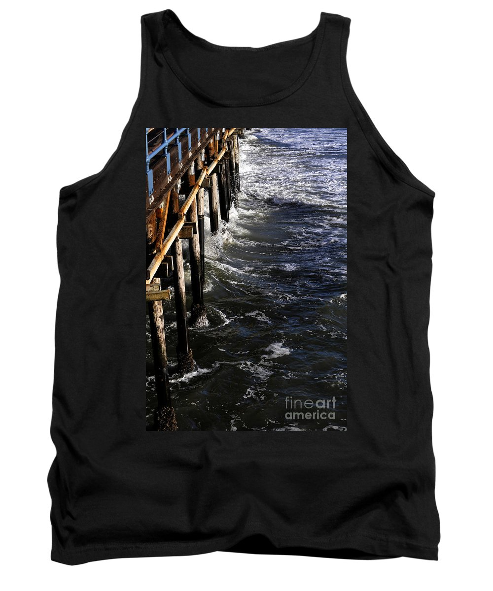 Clay Tank Top featuring the photograph Waves Hitting Santa Monica Pier by Clayton Bruster