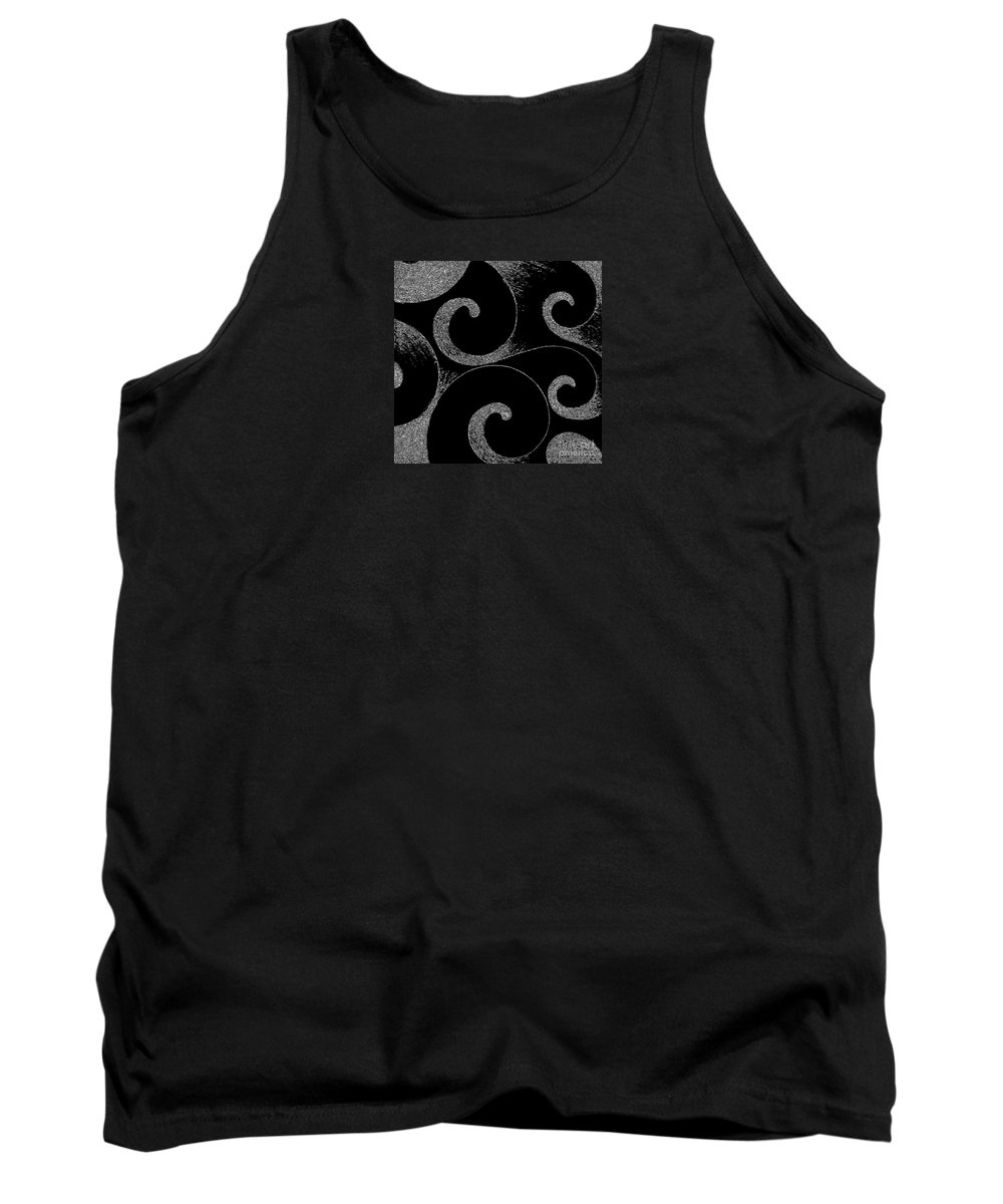 Abstract Tank Top featuring the digital art Waves Inverted In Black And White by Helena Tiainen